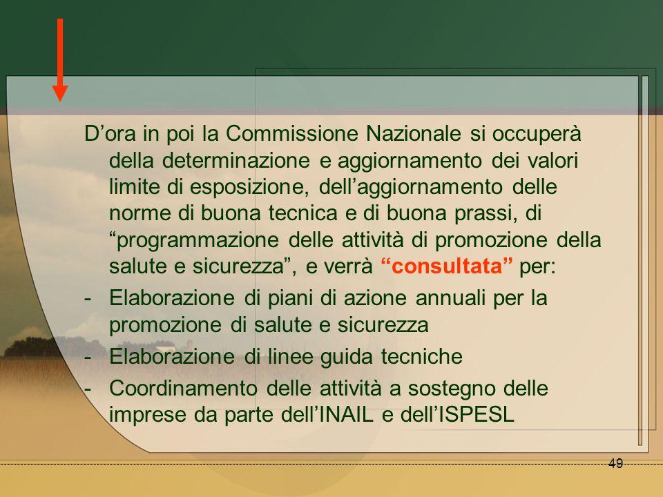 D'ora in poi la Commissione Nazionale si occuperà della determinazione e aggiornamento dei valori limite di esposizione, dell'aggiornamento delle norme di buona tecnica e di buona prassi, di programmazione delle attività di promozione della salute e sicurezza , e verrà consultata per: