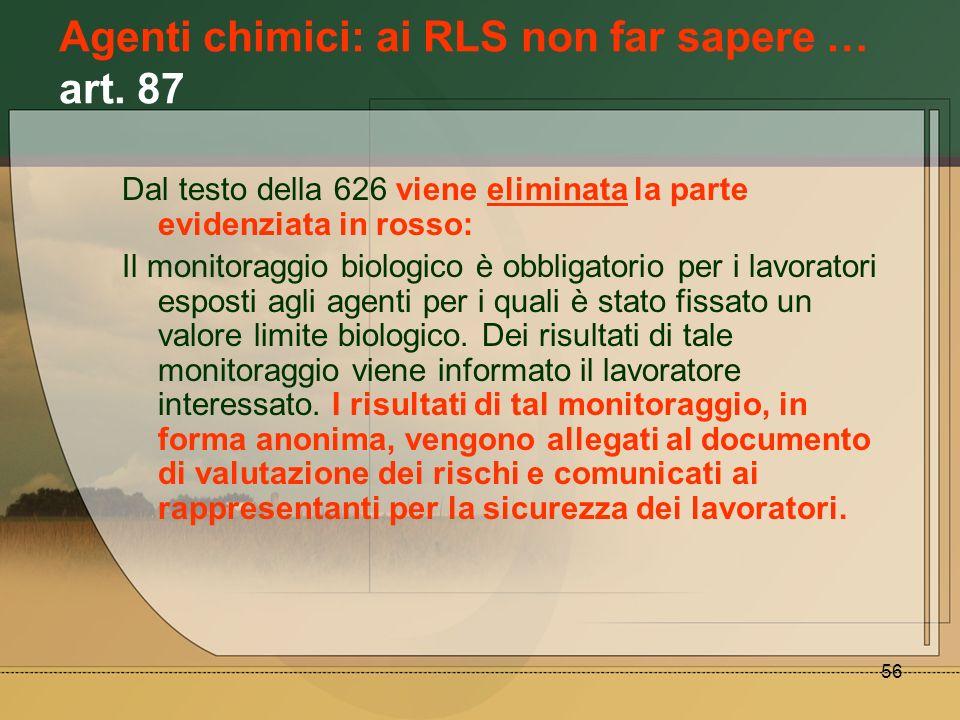 Agenti chimici: ai RLS non far sapere … art. 87