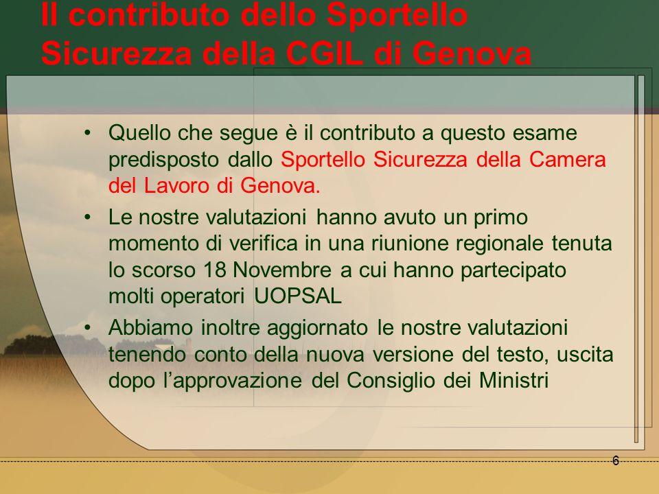 Il contributo dello Sportello Sicurezza della CGIL di Genova