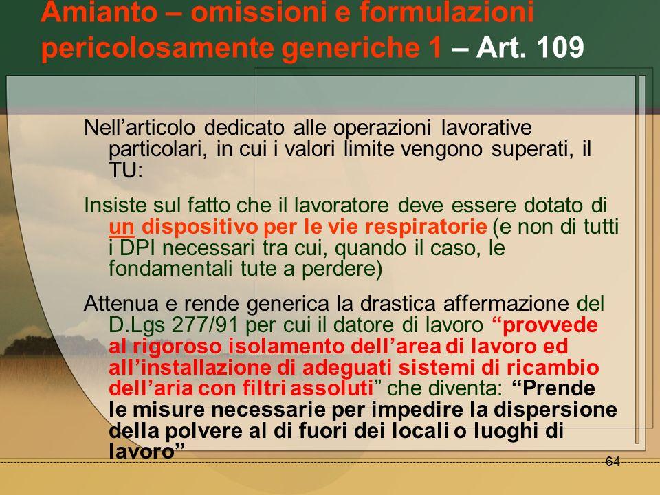 Amianto – omissioni e formulazioni pericolosamente generiche 1 – Art