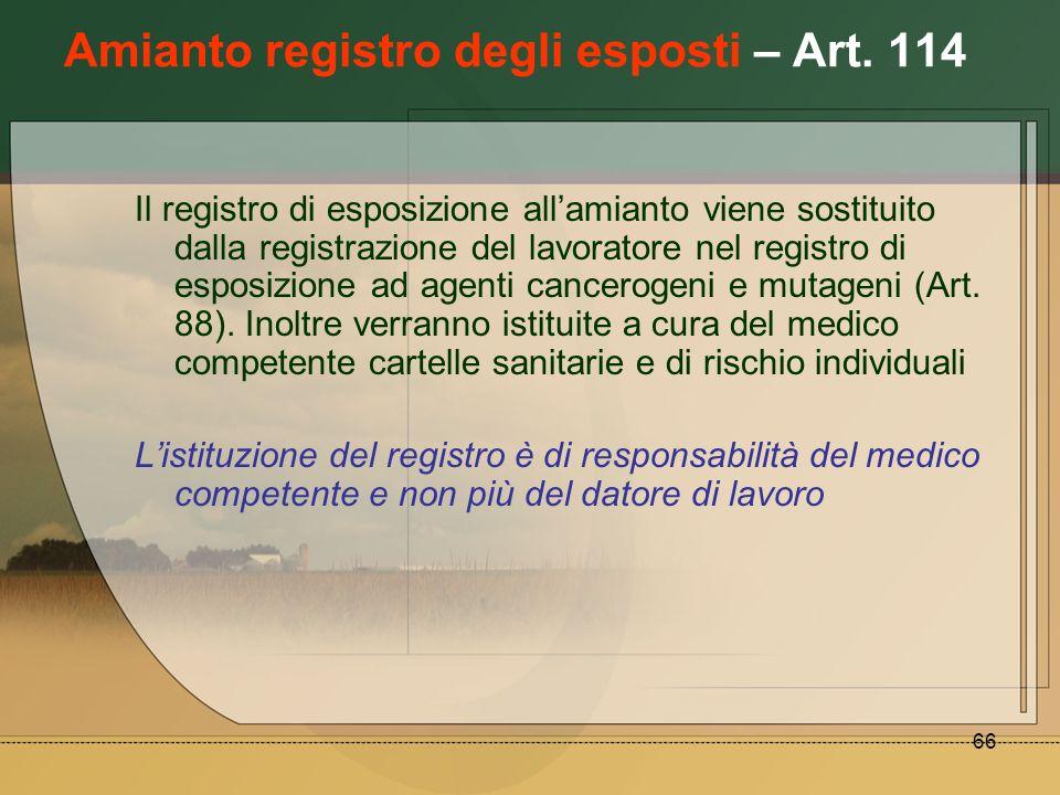 Amianto registro degli esposti – Art. 114