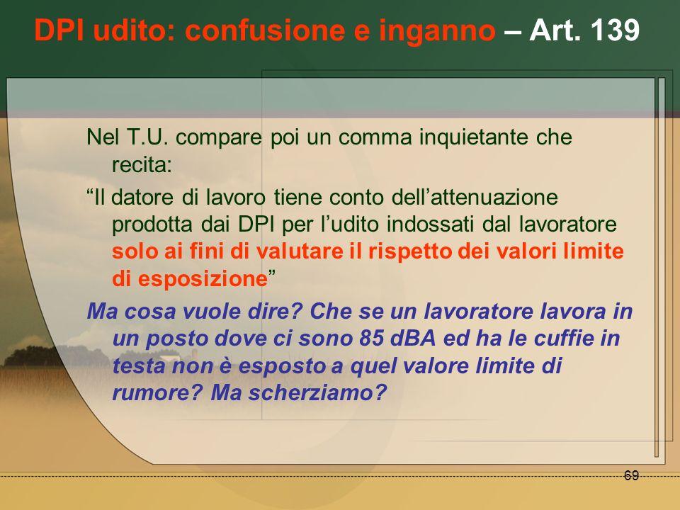 DPI udito: confusione e inganno – Art. 139
