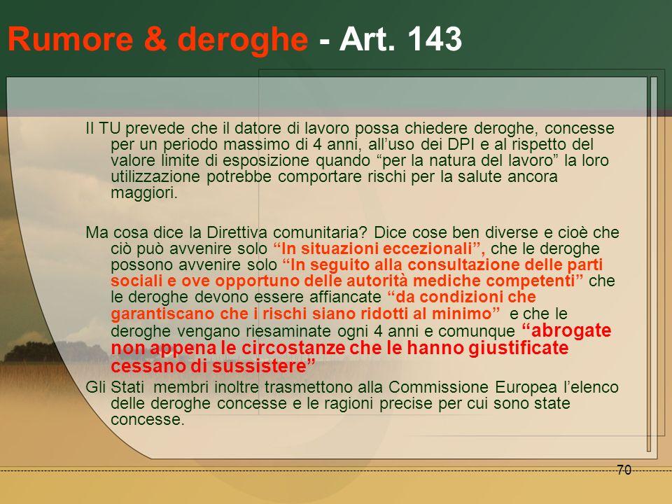 Rumore & deroghe - Art. 143