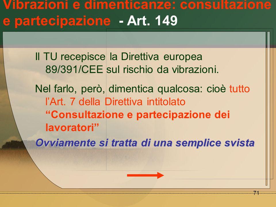 Vibrazioni e dimenticanze: consultazione e partecipazione - Art. 149