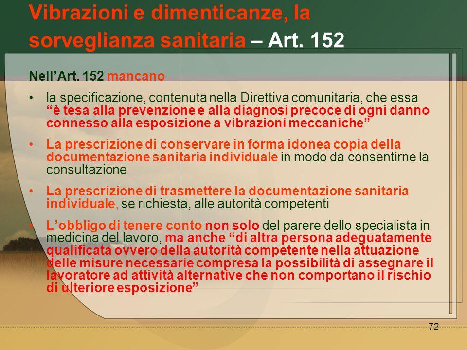 Vibrazioni e dimenticanze, la sorveglianza sanitaria – Art. 152