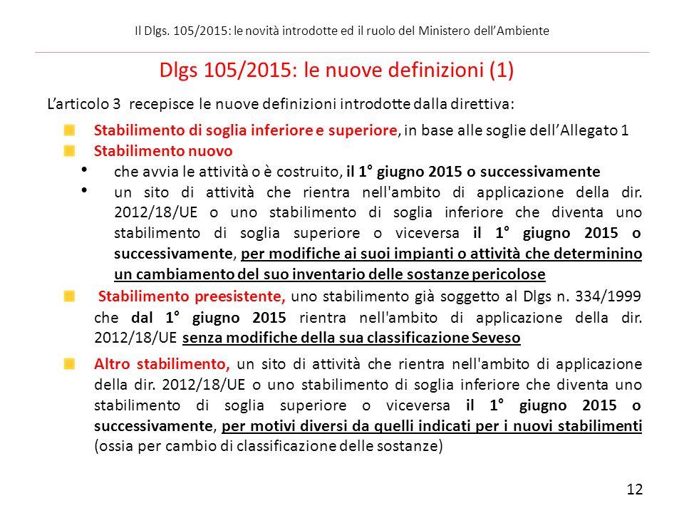 Dlgs 105/2015: le nuove definizioni (1)