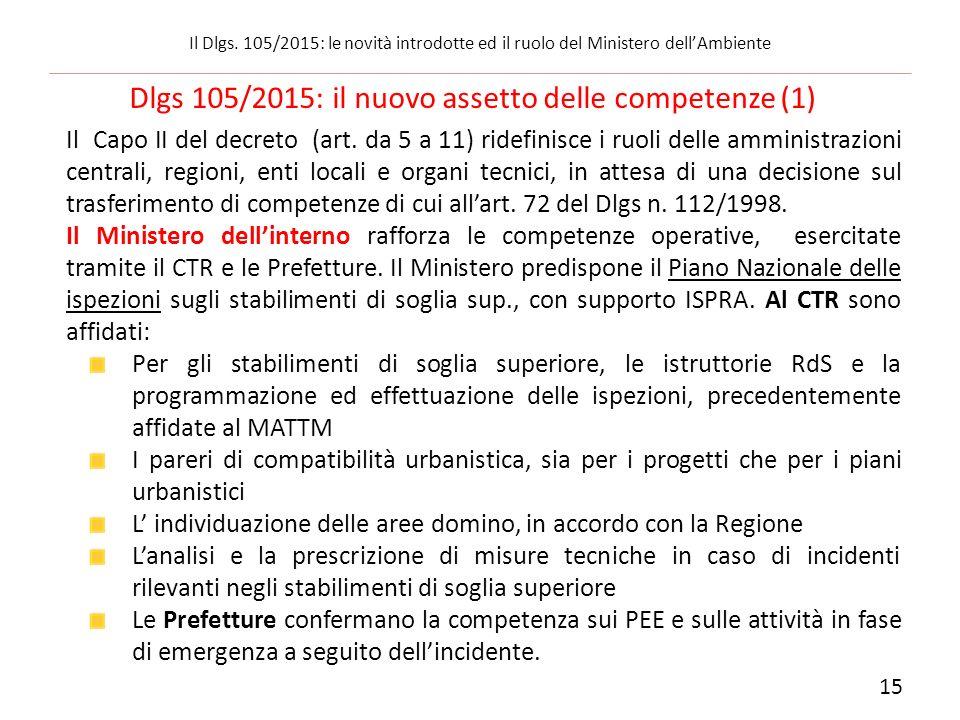 Dlgs 105/2015: il nuovo assetto delle competenze (1)