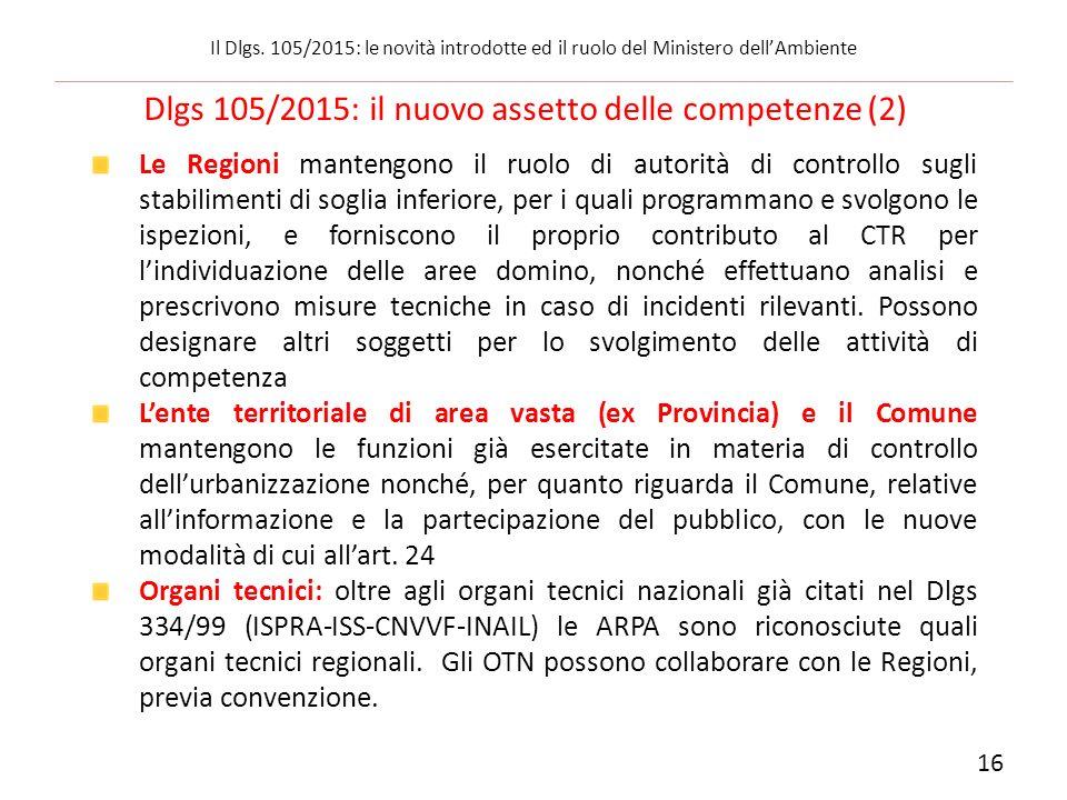 Dlgs 105/2015: il nuovo assetto delle competenze (2)