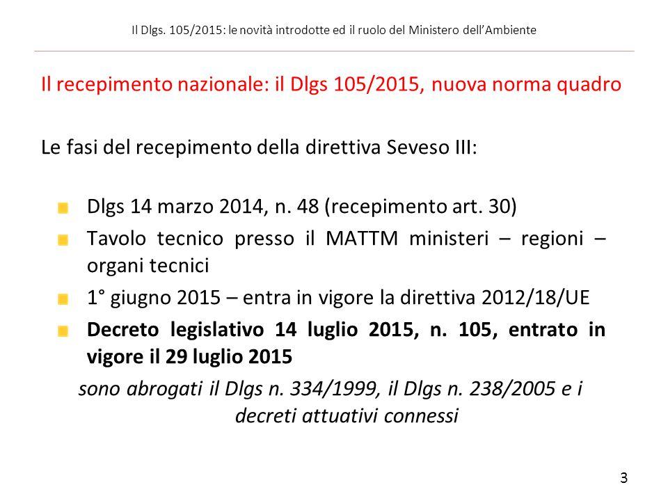 Il recepimento nazionale: il Dlgs 105/2015, nuova norma quadro