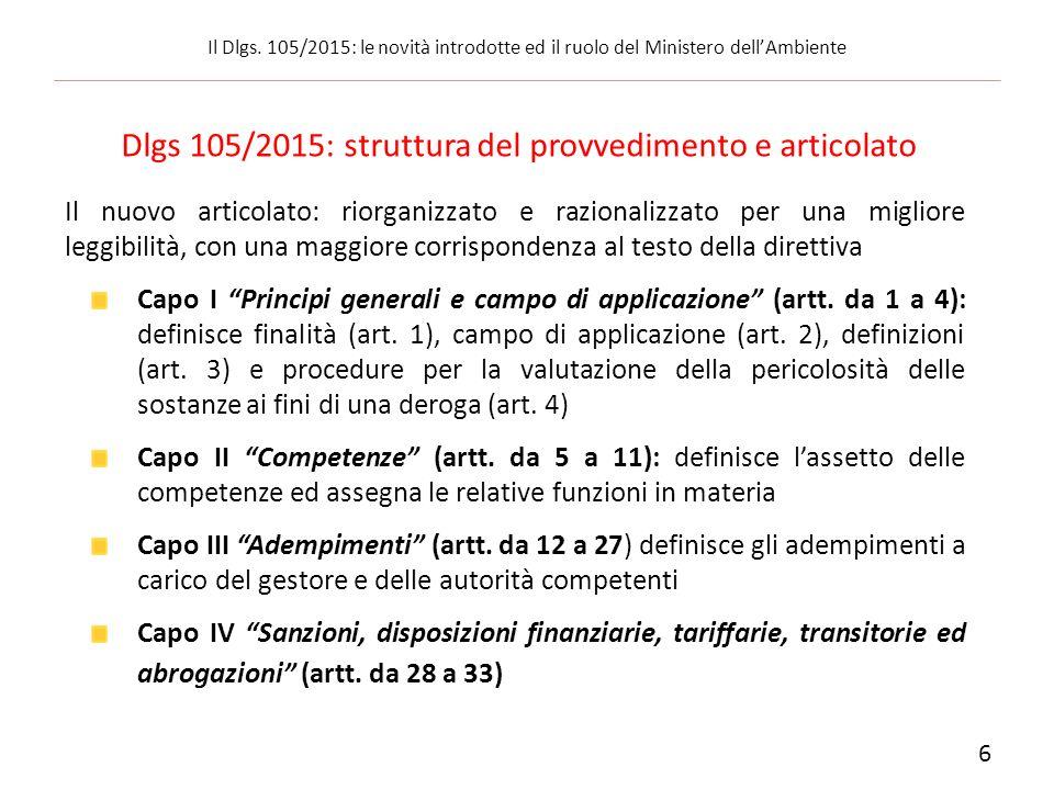 Dlgs 105/2015: struttura del provvedimento e articolato