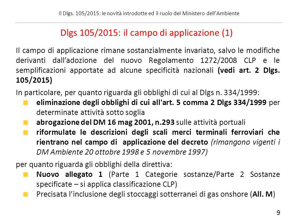 Dlgs 105/2015: il campo di applicazione (1)