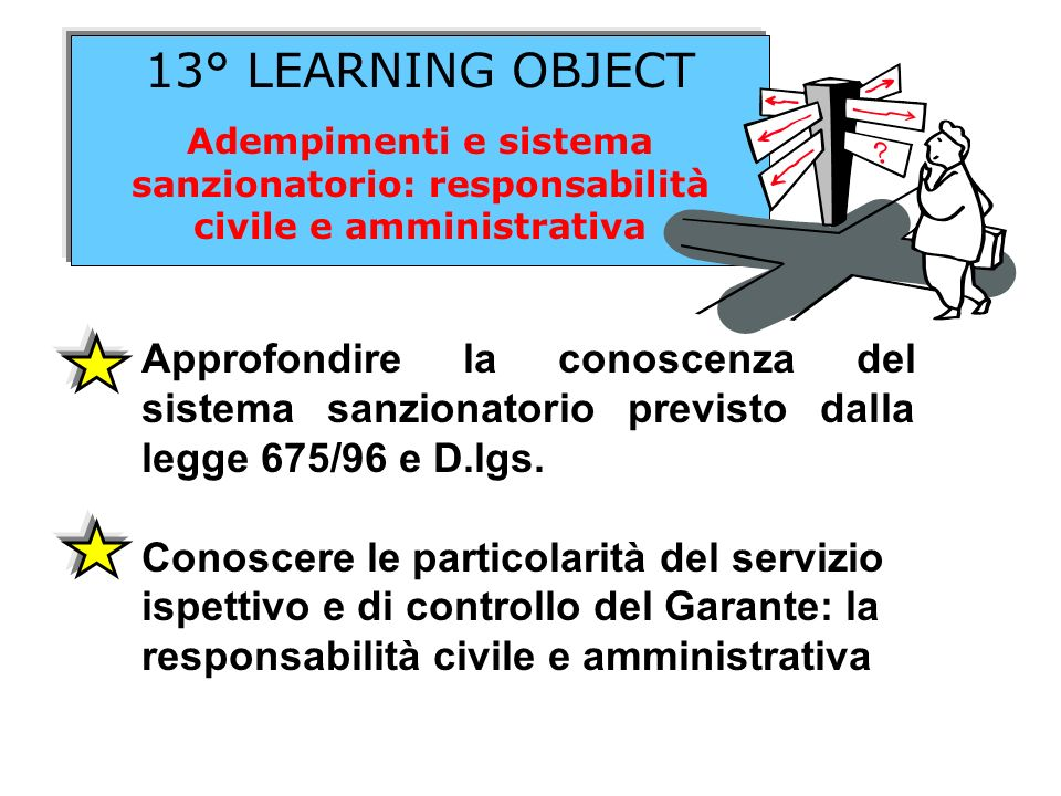 13° LEARNING OBJECT Adempimenti e sistema sanzionatorio: responsabilità civile e amministrativa.