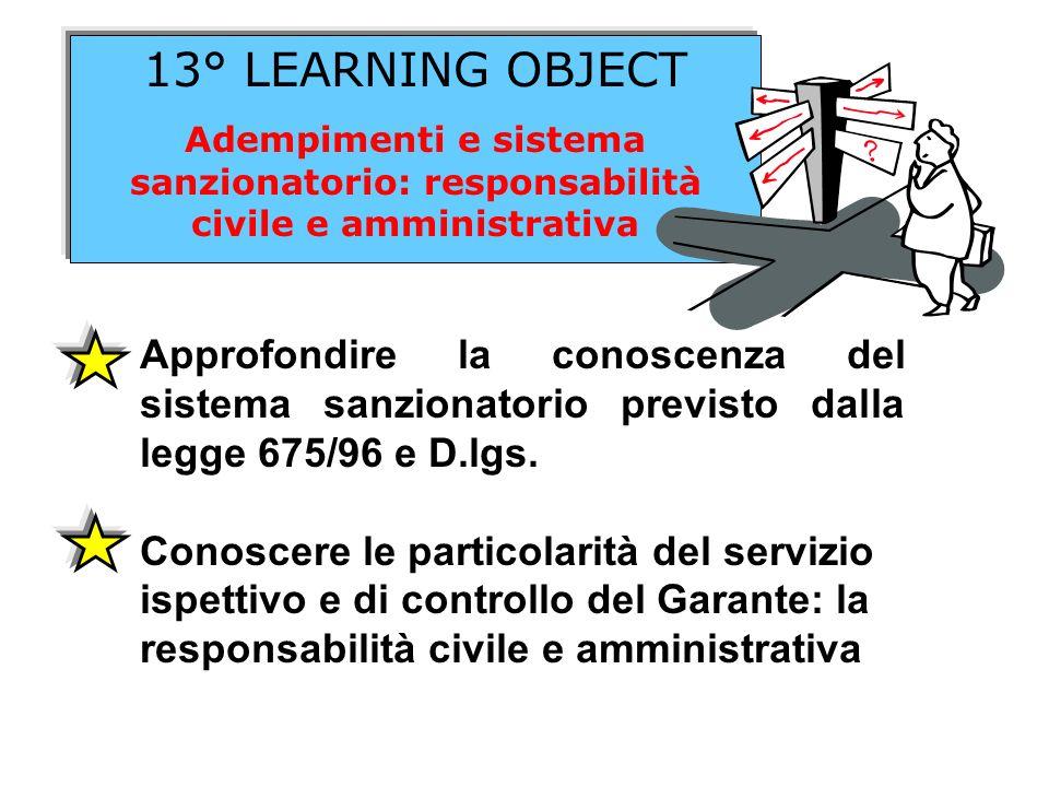 13° LEARNING OBJECTAdempimenti e sistema sanzionatorio: responsabilità civile e amministrativa.