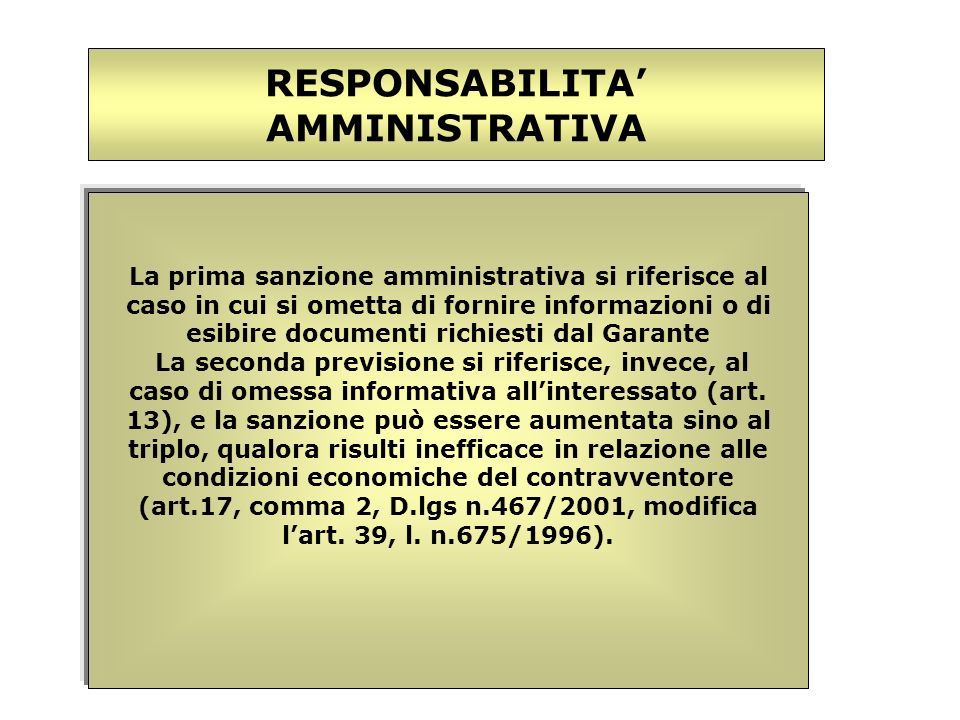 RESPONSABILITA' AMMINISTRATIVA