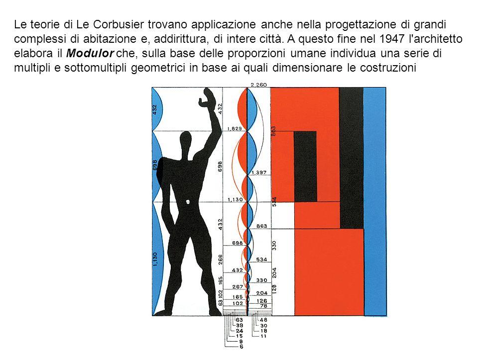 Le teorie di Le Corbusier trovano applicazione anche nella progettazione di grandi complessi di abitazione e, addirittura, di intere città.