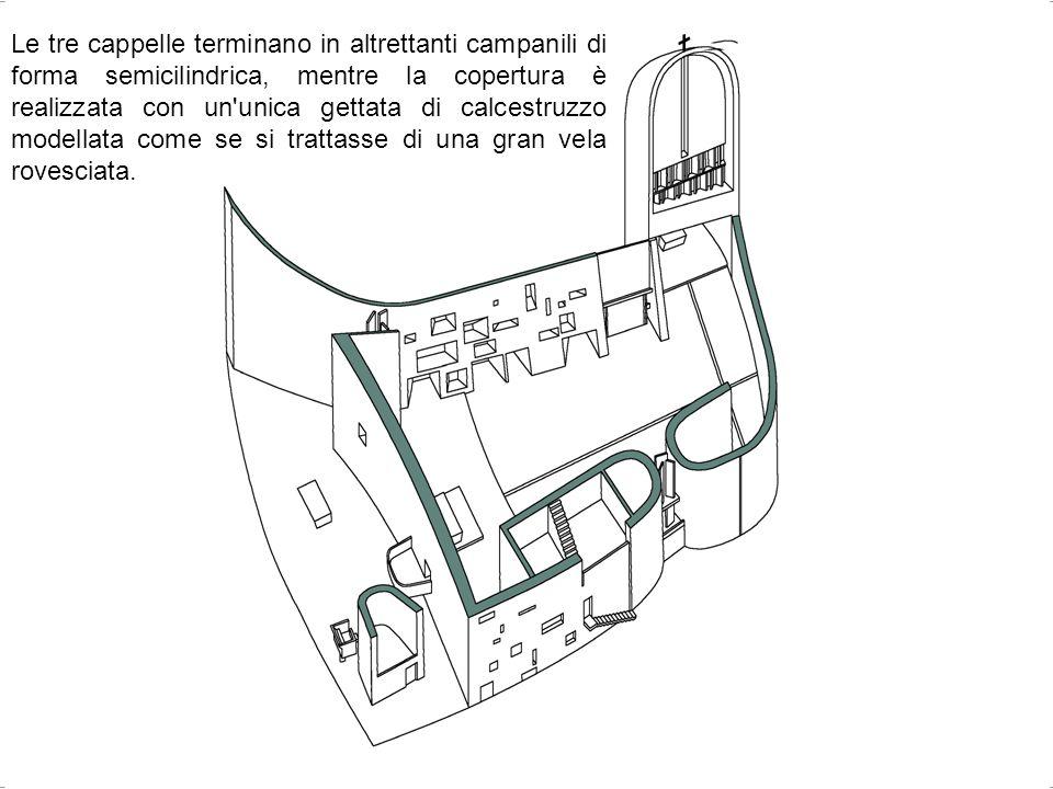Le tre cappelle terminano in altrettanti campanili di forma semicilindrica, mentre la copertura è realizzata con un unica gettata di calcestruzzo modellata come se si trattasse di una gran vela rovesciata.