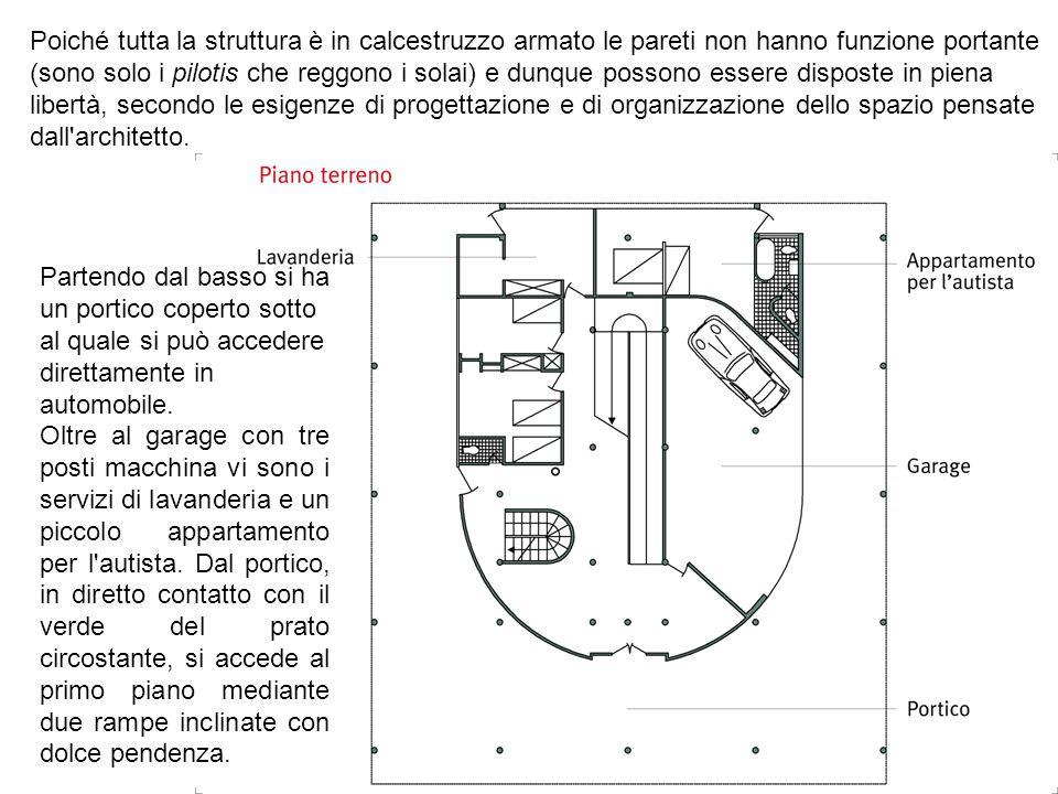 Poiché tutta la struttura è in calcestruzzo armato le pareti non hanno funzione portante (sono solo i pilotis che reggono i solai) e dunque possono essere disposte in piena libertà, secondo le esigenze di progettazione e di organizzazione dello spazio pensate dall architetto.