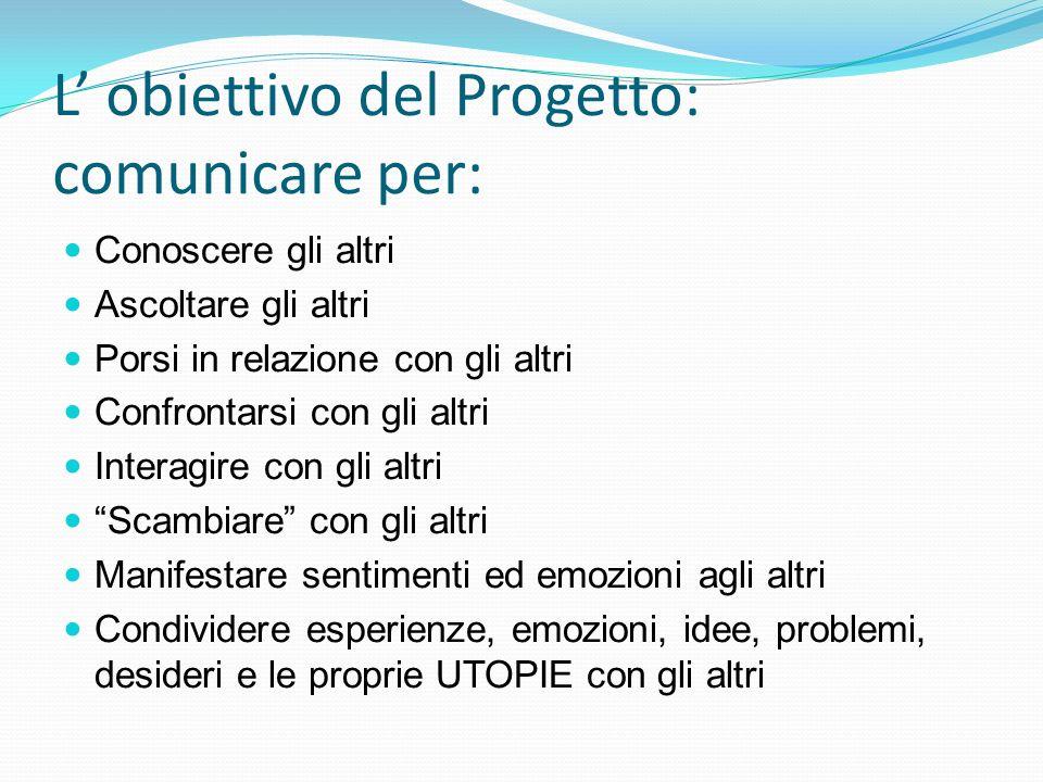L' obiettivo del Progetto: comunicare per: