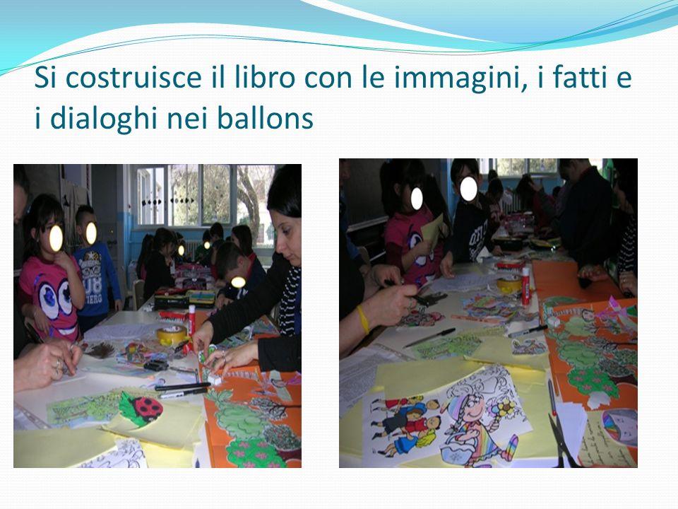 Si costruisce il libro con le immagini, i fatti e i dialoghi nei ballons