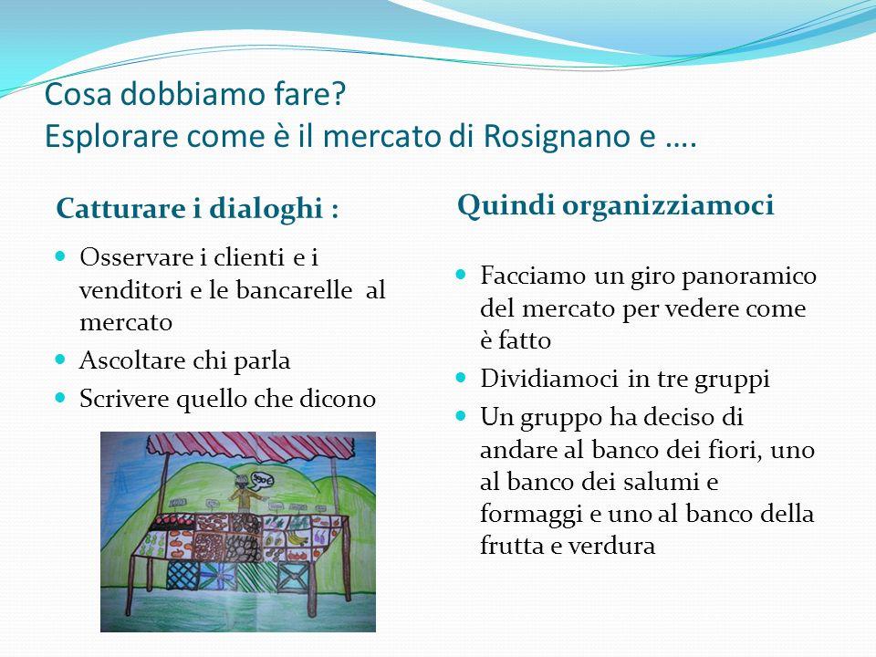 Cosa dobbiamo fare Esplorare come è il mercato di Rosignano e ….