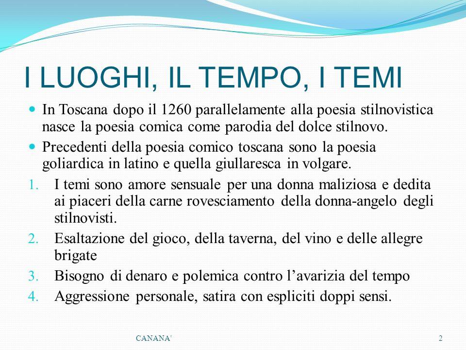 I LUOGHI, IL TEMPO, I TEMI In Toscana dopo il 1260 parallelamente alla poesia stilnovistica nasce la poesia comica come parodia del dolce stilnovo.