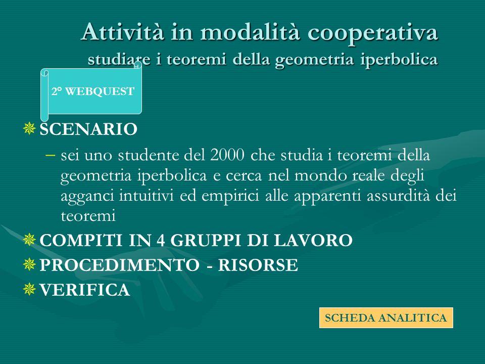 Attività in modalità cooperativa studiare i teoremi della geometria iperbolica