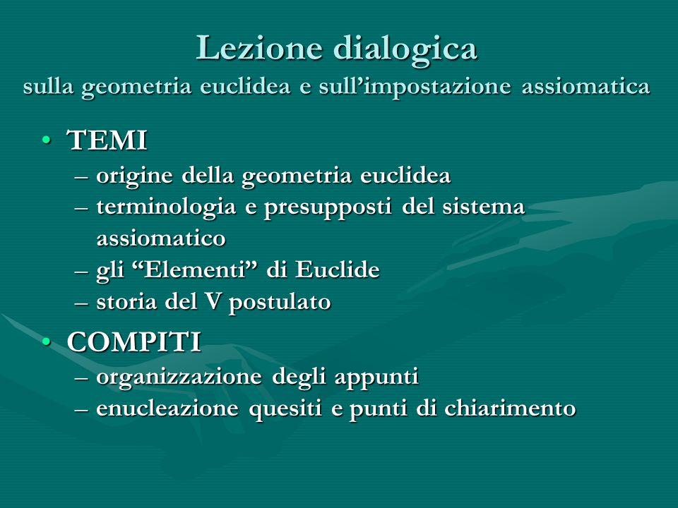 Lezione dialogica sulla geometria euclidea e sull'impostazione assiomatica