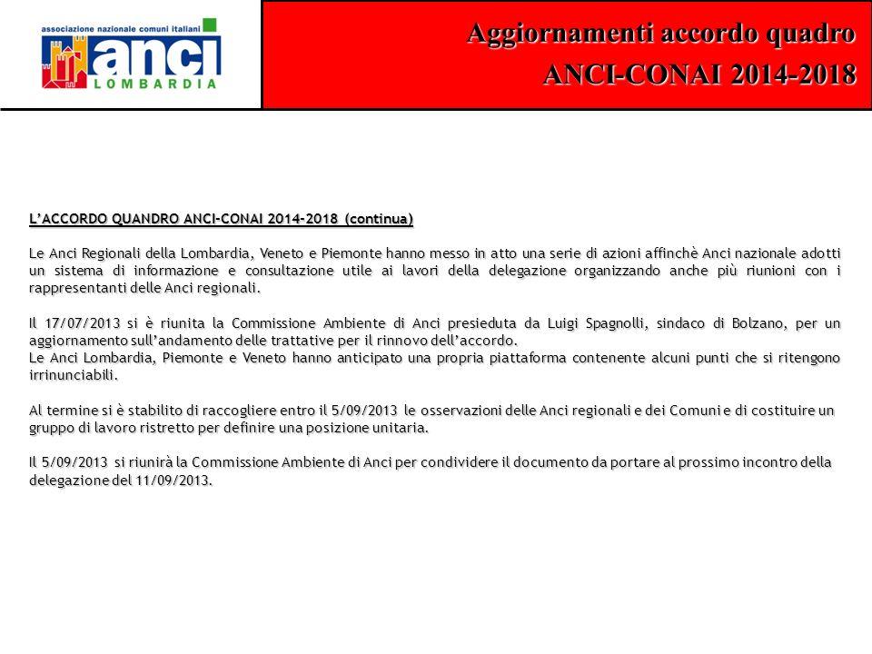 L'ACCORDO QUANDRO ANCI-CONAI 2014-2018 (continua)