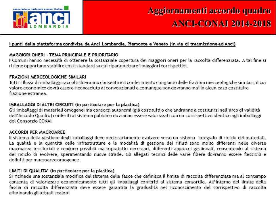 I punti della piattaforma condivisa da Anci Lombardia, Piemonte e Veneto (in via di trasmissione ad Anci)