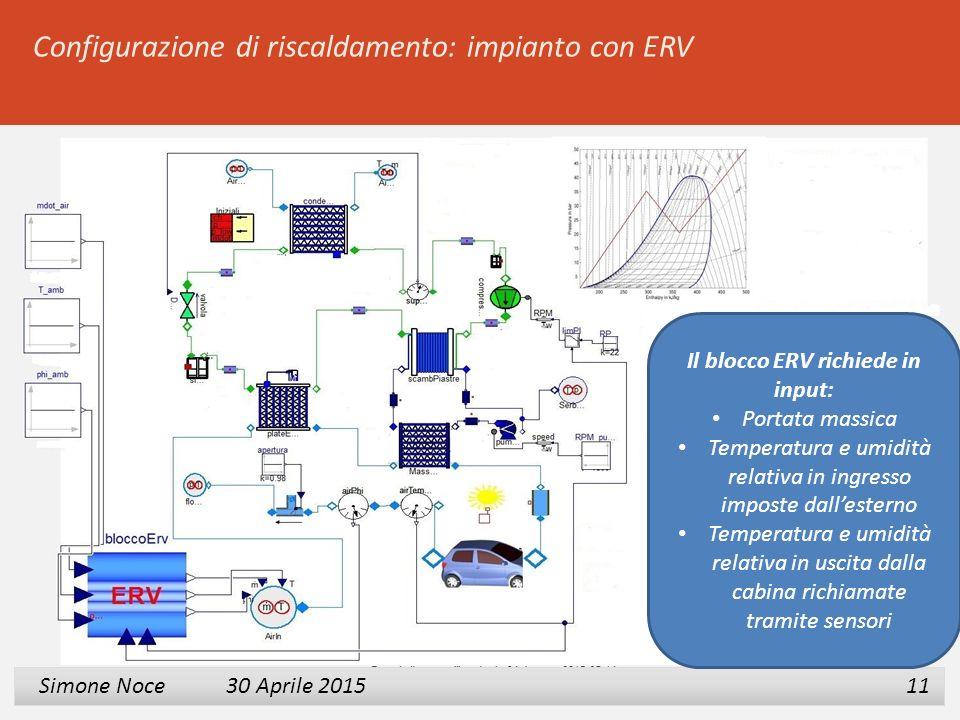 Il blocco ERV richiede in input:
