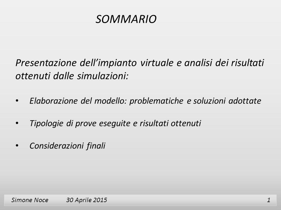 SOMMARIO Presentazione dell'impianto virtuale e analisi dei risultati ottenuti dalle simulazioni: