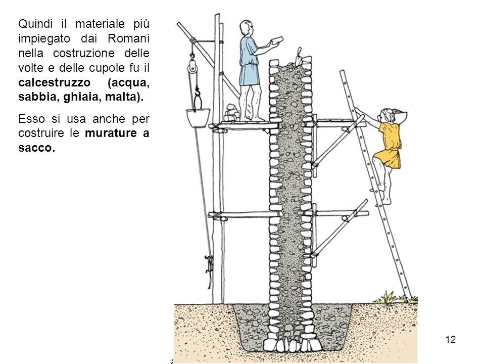 Quindi il materiale più impiegato dai Romani nella costruzione delle volte e delle cupole fu il calcestruzzo (acqua, sabbia, ghiaia, malta).
