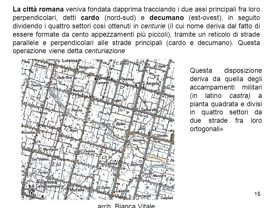 La città romana veniva fondata dapprima tracciando i due assi principali fra loro perpendicolari, detti cardo (nord-sud) e decumano (est-ovest), in seguito dividendo i quattro settori così ottenuti in centurie (il cui nome deriva dal fatto di essere formate da cento appezzamenti più piccoli), tramite un reticolo di strade parallele e perpendicolari alle strade principali (cardo e decumano). Questa operazione viene detta centuriazione