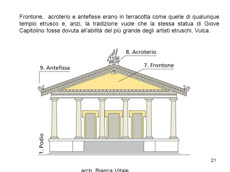 Frontone, acroterio e antefisse erano in terracotta come quelle di qualunque tempio etrusco e, anzi, la tradizione vuole che la stessa statua di Giove Capitolino fosse dovuta all'abilità del più grande degli artisti etruschi, Vulca.
