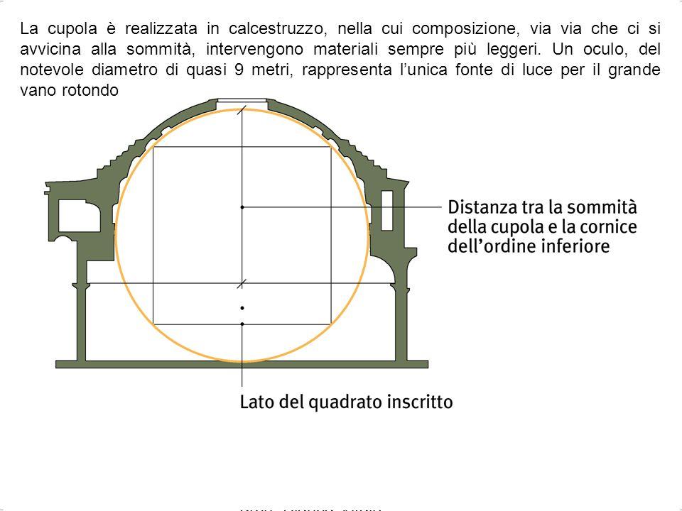 La cupola è realizzata in calcestruzzo, nella cui composizione, via via che ci si avvicina alla sommità, intervengono materiali sempre più leggeri. Un oculo, del notevole diametro di quasi 9 metri, rappresenta l'unica fonte di luce per il grande vano rotondo