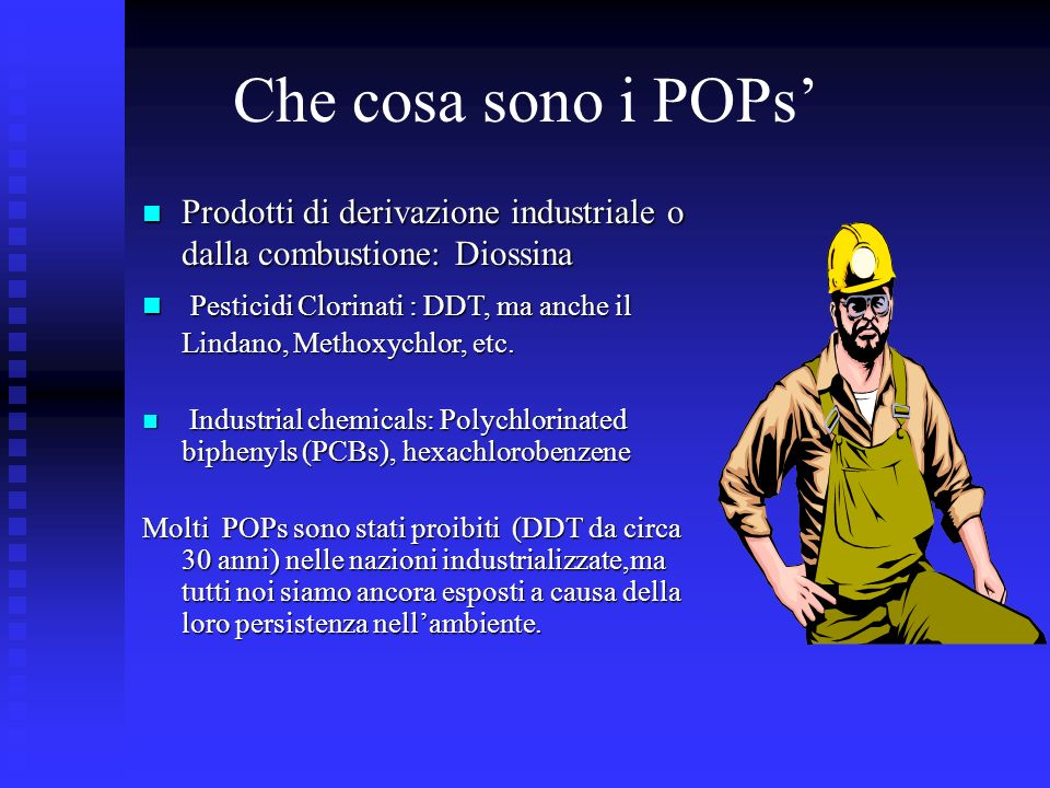 Che cosa sono i POPs'Prodotti di derivazione industriale o dalla combustione: Diossina.
