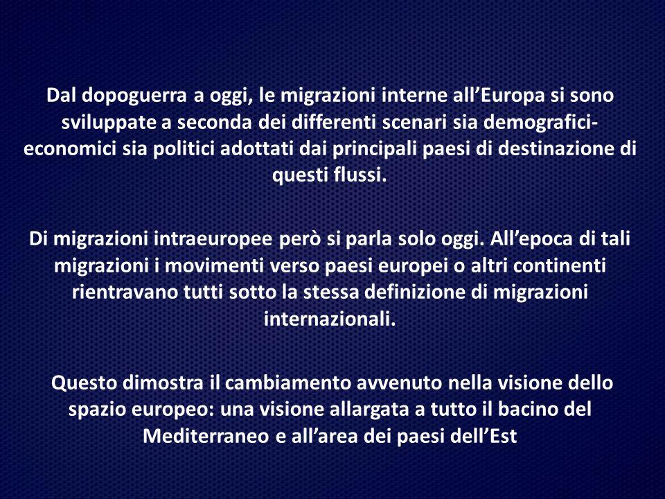 Dal dopoguerra a oggi, le migrazioni interne all'Europa si sono sviluppate a seconda dei differenti scenari sia demografici-economici sia politici adottati dai principali paesi di destinazione di questi flussi.