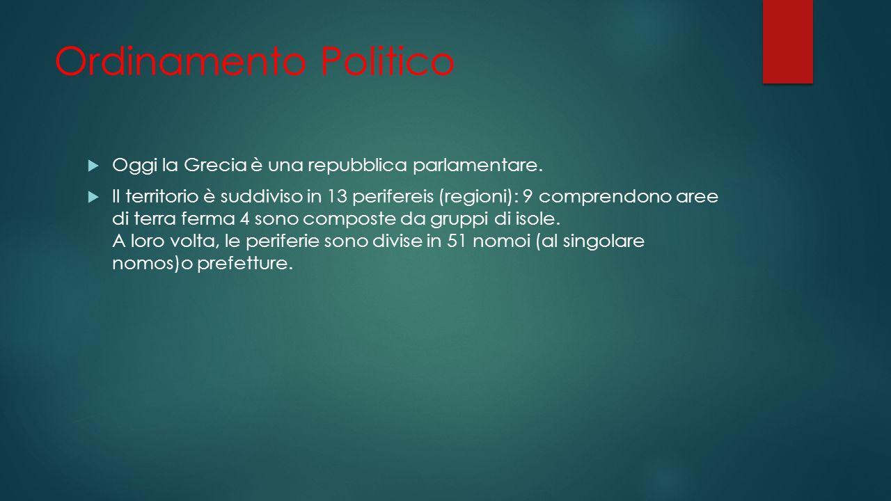 Ordinamento Politico Oggi la Grecia è una repubblica parlamentare.