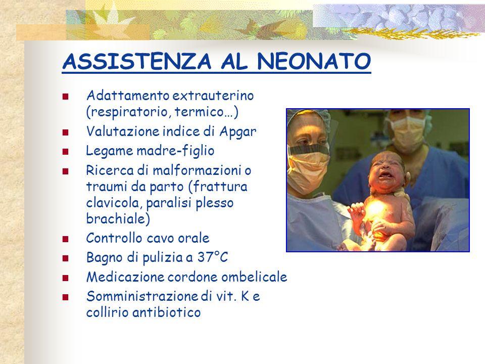 ASSISTENZA AL NEONATO Adattamento extrauterino (respiratorio, termico…) Valutazione indice di Apgar.