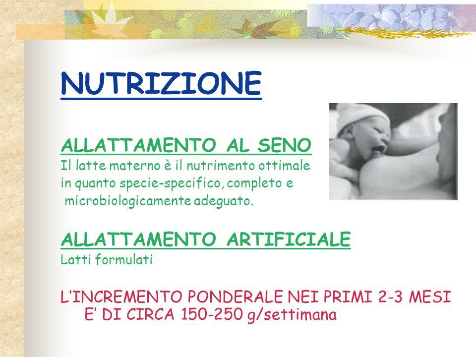NUTRIZIONE ALLATTAMENTO AL SENO ALLATTAMENTO ARTIFICIALE
