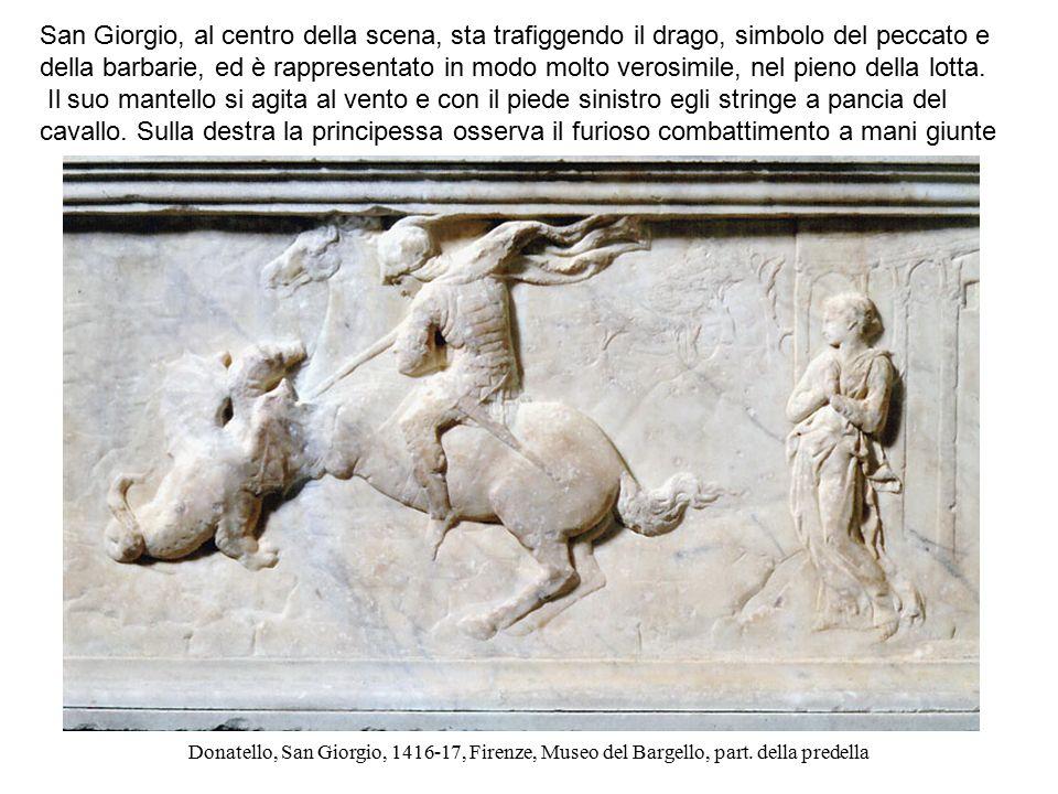San Giorgio, al centro della scena, sta trafiggendo il drago, simbolo del peccato e della barbarie, ed è rappresentato in modo molto verosimile, nel pieno della lotta.