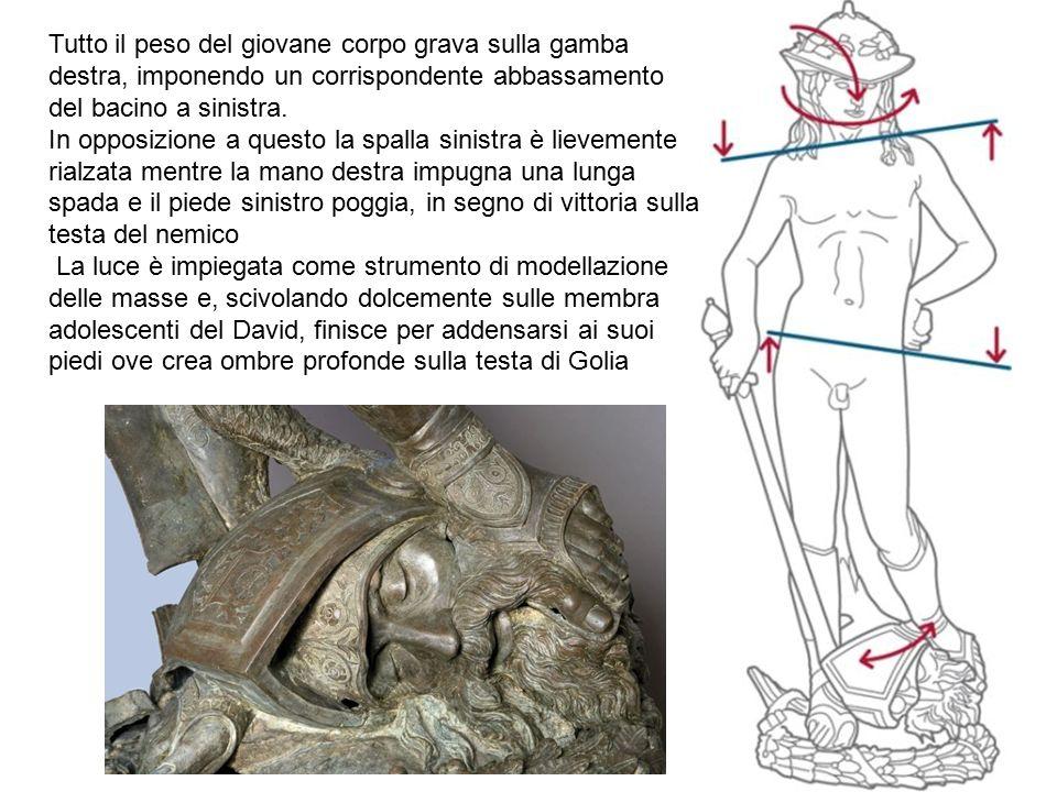 Tutto il peso del giovane corpo grava sulla gamba destra, imponendo un corrispondente abbassamento del bacino a sinistra.
