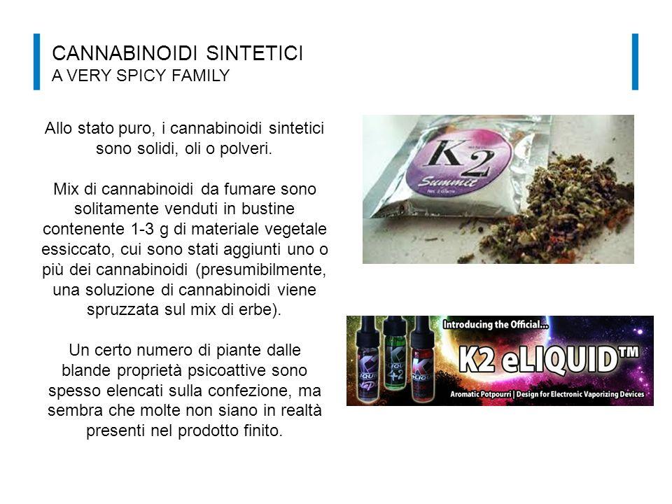Allo stato puro, i cannabinoidi sintetici sono solidi, oli o polveri.