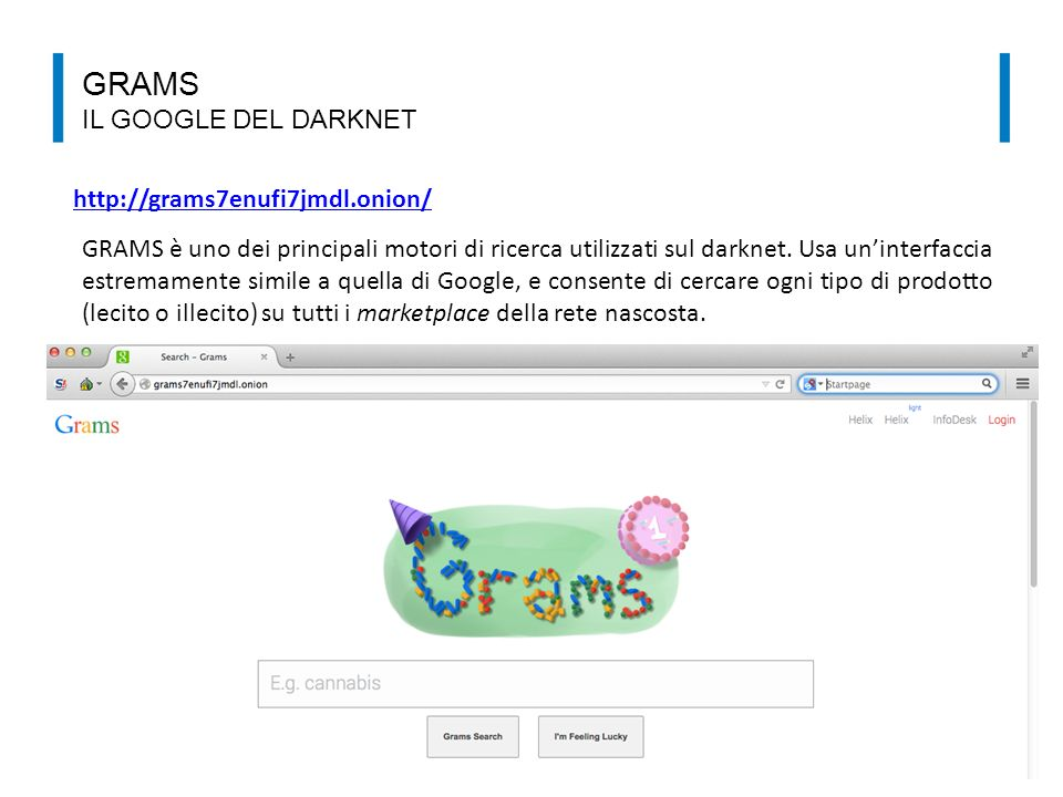 GRAMS il google del darknet http://grams7enufi7jmdl.onion/