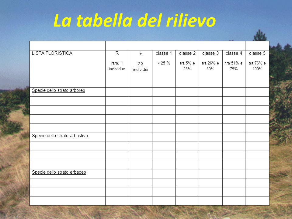 La tabella del rilievo + LISTA FLORISTICA R classe 1 classe 2 classe 3