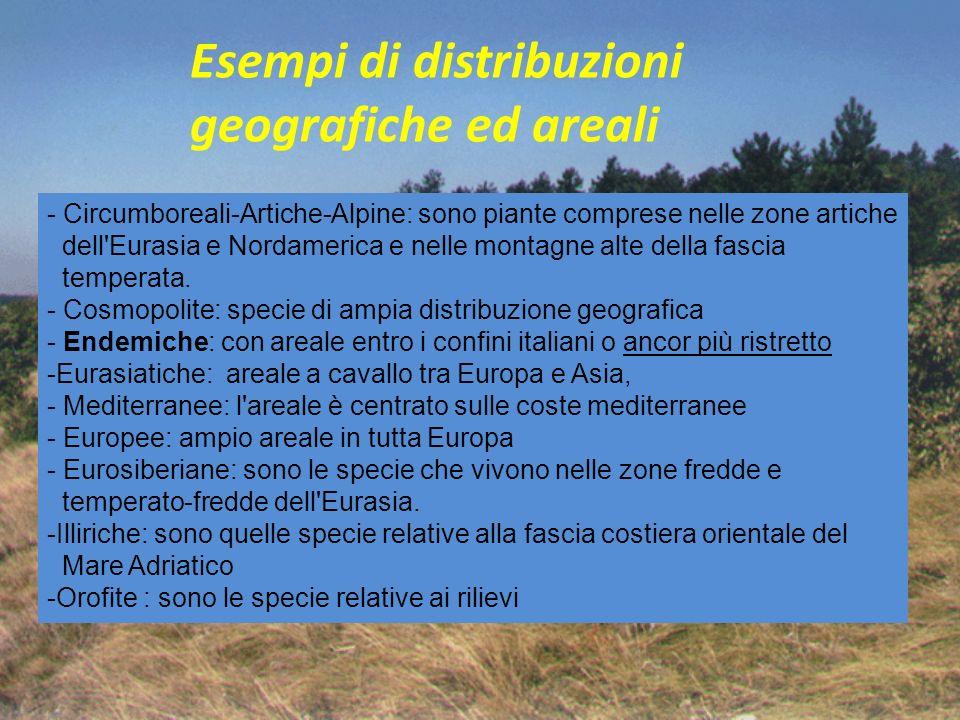 Esempi di distribuzioni geografiche ed areali