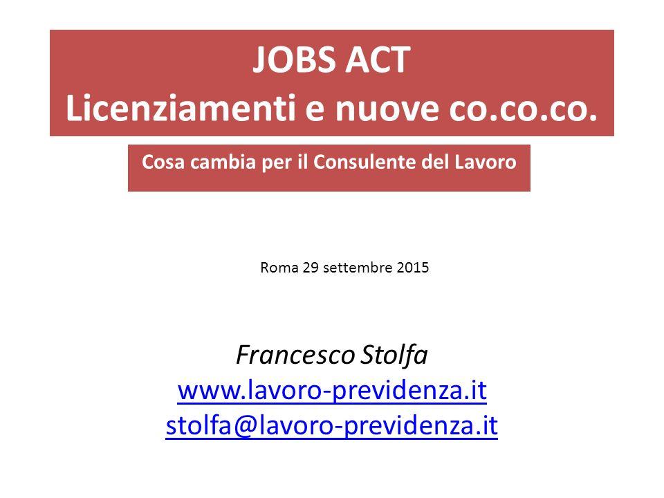 JOBS ACT Licenziamenti e nuove co.co.co.