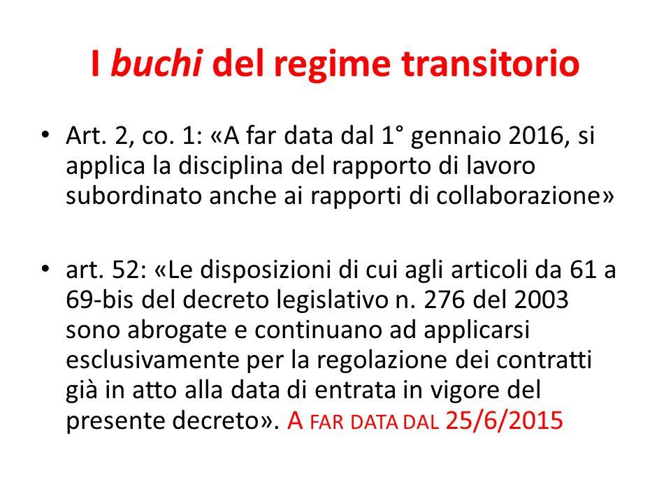 I buchi del regime transitorio