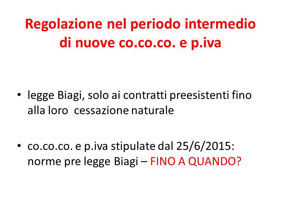 Regolazione nel periodo intermedio di nuove co.co.co. e p.iva