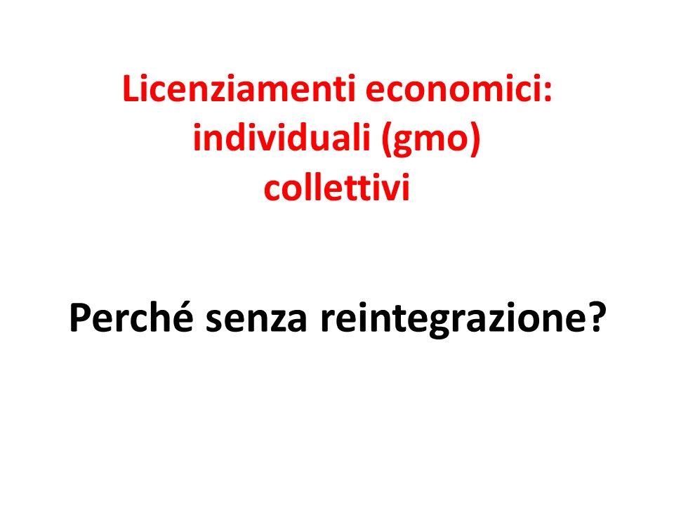 Licenziamenti economici: individuali (gmo) collettivi